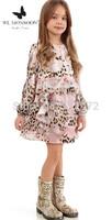 2015 New Fashion kids leopard dress Top grade long sleeve lace dress European-American design girls sweet princess dress
