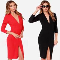 2014 New Fashion Women Winter Dress Long Sleeve Dark V-Neck Front Slit Casual Dress Placketing Medium-Long Black Dresses