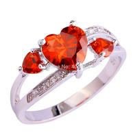 Wholesale Popular Heart Cut Garnet White Topaz 925 Silver Ring Size 6 7 8 9 10 New Fashion Women Jewelry Free Shipping