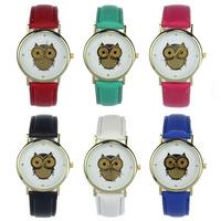 Feitong Women's Fashion Owl Dial Leather Band Quartz Analog Wrist Watches Watch Free Shipping&Wholesales