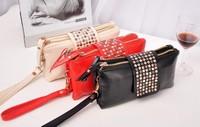 fashion new hot rivet clutch evening bags 3 clolor hangbag freeshipping