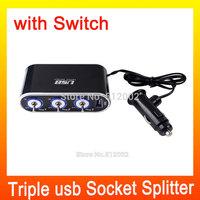 Black 3 Way LED Car Cigarette Lighter Socket Splitter 12V 24V with USB Port &LED Light Switch