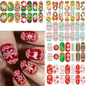 Световой свечение полный обертывания рождество ногтей стикеров искусства пленки советы ...