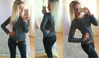 2014 new fashion long sleeved polka dot print shirts for women black/white casual slim blouse free shipping