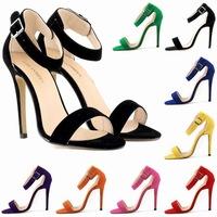 2014 women sandals ankle New sexy summer sandalia feminina peep-toe high heel sandals shoes size 4-11