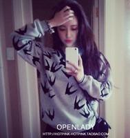 2014 Europe style swallows flocking printing thick Turtleneck Long Sleeve loose sweater hoodies women