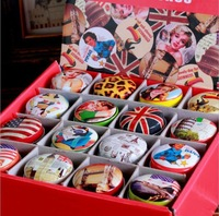 zakka grocery retro classic pop elements colorful leather round tin candy box  48pcs/lot