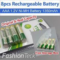 Real Capacity 8pcs/lot Rechargeable Battery AAA 1.2V 1350mAh * 8 pcs Ni MH Free Batteries Storage Box Packing