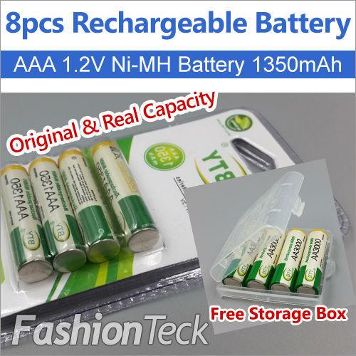 Real Capacity 8pcs/lot Rechargeable Battery AAA 1.2V 1350mAh * 8 pcs Ni MH Free Batteries Storage Box Packing(China (Mainland))