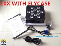 America dj lighting 12*15W RGBWA 5in1 10pcs with flightcase free shipping by DHL