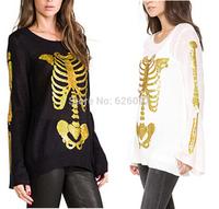 HOT New Women's Fashion Sweater Bronzing Golden Color SKULL BONE Print Loose Knitted Horn Sleeve Sweater Jumper Knitwear Tops