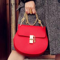 Smilyan genuine leather drew bag chains women handbag fashion leather shoulder bags women wallet casual-bag free shipping