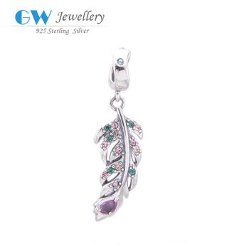 Браслет перо шарм женская серебро 925 аксессуары diy подходит кристалл браслет цепочка ...
