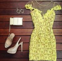 Sexy Sheer club dress 2014 Cute Mini short Women lace Yellow dress vestido de renda curto Novelty evening party dresses Elegant