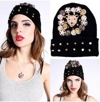 Wholesale High quality hip hop spikes rivet winter hats for women new fashion sport autumn novelty  female Beanies skullies cap