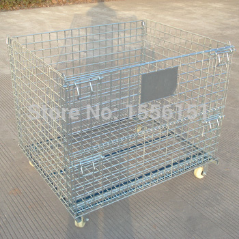 foldable wire basket storage cage, stacking shelving trolly, Wire mesh cages,wire container,trolly cage(China (Mainland))