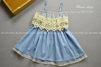 Girls new summer baby children pearls lace denim sling princess dresses  ES12DS-81FC