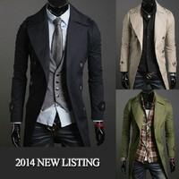 2014 Long Coat Fashion Men Clothes imported china slim long busniess man jacket cotton coats U6502