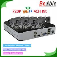 H.264 Indoor&outdoor 4 Channel 720P Wireless IP Camera P2P CCTV NVR kit home Surveillance system Newwork digital recorder