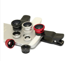 2014 Hot Universal Clip 3 in 1 Fish Eye Wide Angle Macro Fisheye Mobile Phone Lens For iPhone 6 5 5S 4 4S Samsung HTC Nokia
