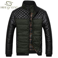 2015 New Winter Men Coat  Warm PU Leather Patchwork Men Jacket Coat Drop Shipping MWM617