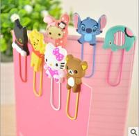 Drop Shipping Anime Animal Cartoon Cute Bear Stich Sulley Rabbit Chipmunk Bookmark Paper Clip Office school supplies Gift