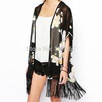 Hot Fashion Long Chiffon Blouse Open Black Kimono Cardigans For Women Flower Prints Shirts Loose Fringe Blouse PA655514