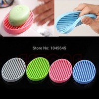 D19   Fashion Silicone Flexible Soap Dish Plate Bathroom Kit Soap Holder