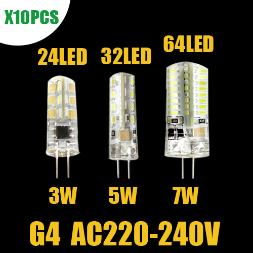 10PCS G4 LED Corn Lamp 3W 5W 7W 220V-240V Cree Chips Replace for Crystal LED Light Bulb Spotlight Warm Cold White Free Shipping(China (Mainland))
