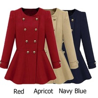 2014 New Fashion Women's Round Neck Peplum Overcoat Double-Breasted Button Jacket Coat Spring Autumn Early Winter ZS*E1443#S3