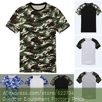 Man Casual Camouflage T-shirt Men Cotton Army Tactical Combat T Shirt Military Sport Camo Camp Mens T Shirts Fashion 2014 Tees