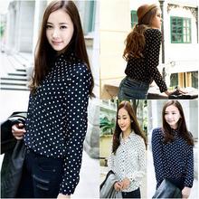 blusas femininas 2014 mujeres de la gasa ocasional de la blusa de las mujeres más tamaño de la ropa de los lunares de la camisa de las mujeres las mujeres blusas XNS 1716(China (Mainland))