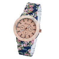 Hot Sale Geneva brand watches Meterial Alloy Strap Women Luxury Watch With Flower band Free Shipping -RA024