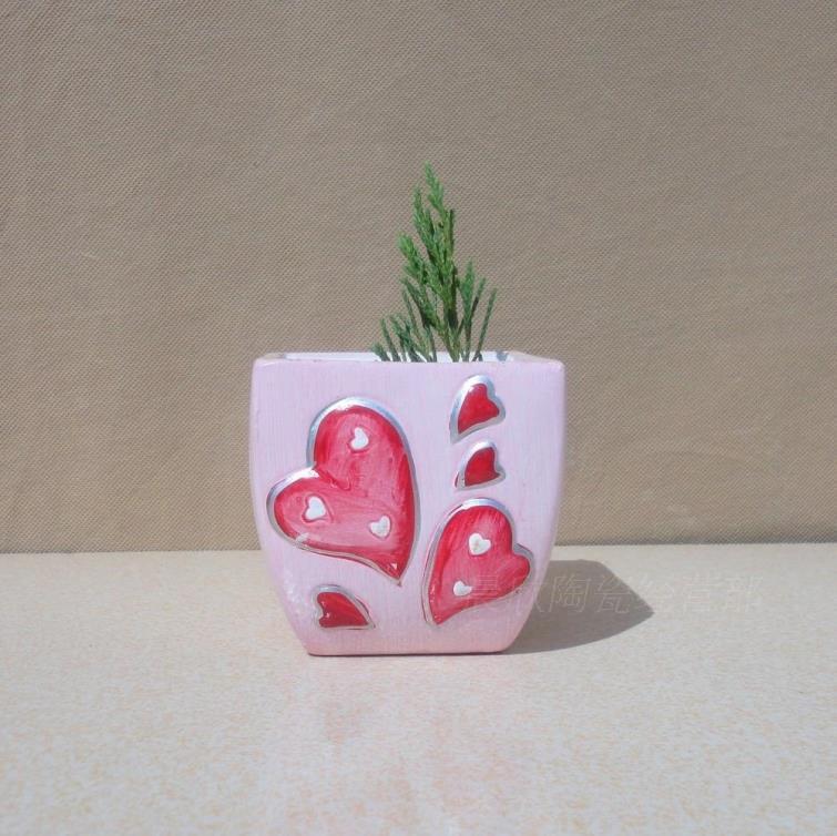 European ceramic flower pot valentine's heart shape Relief map press flower flower pot pot, fleshy(China (Mainland))