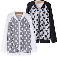 2014!!!!! Cardigan Jackets Women See-Through Flower Coat Laidies Long Style High Street Desigual Jacket Black White ZS*E3138#S3