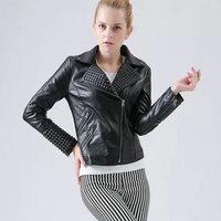 New Women Faux Leather Jackets Female Rivet Motorcycle Coat Outwear Embossing Punk Rock Jacket