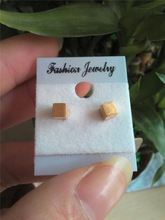 Wholesale 10pairs lot 2015 Stainless Steel Vintage Jewlery Mini Cube Stud Earrings in Gold Silver Rose