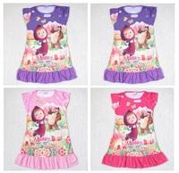 girl kids cartoon masha and the bear sleepwear dress girls summer pajamas pyjama dresses baby cute dress clothes russia hot sale