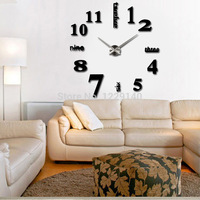 High Quality Large Size Luxury DIY 3D Wall Clock Digital Sticker Wall Clock Room Decoration