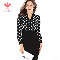 2014 New Women Casual Dress OL Slim V-Neck Long Sleeve Elegant Party Vintage Polka Dot Print Dresses Work Wear Vestidos D11921