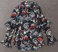 2015 new runway fashion Brand vintage digital flower print Lotus leaf collar flare sleeve ruffles chiffon blouse shirt S,M,L