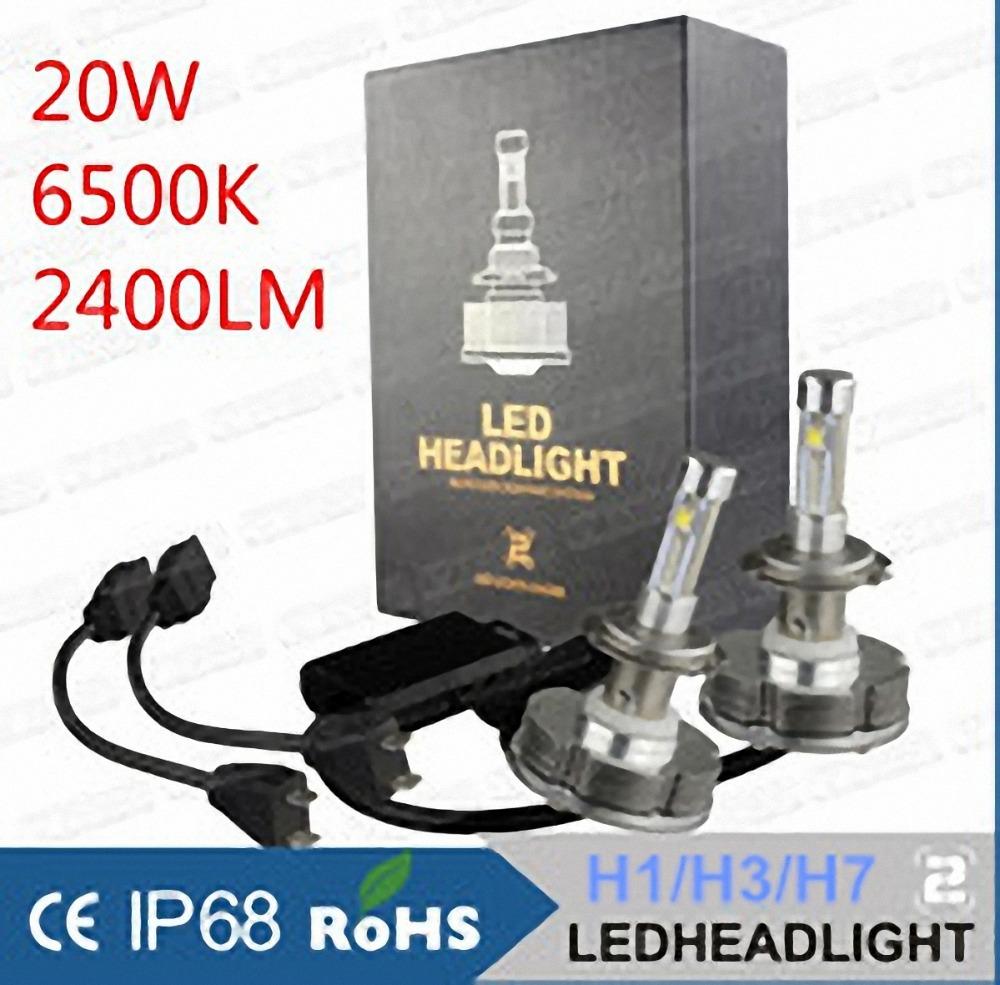 set 2014 NEWEST 2nd Gen DC IP68 40W 4800LM H1 H3 H7 Auto Cree LED Headlight Kit Lamp 20W 2400lm Bulbs xenon hid car led light(China (Mainland))