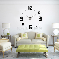 2014 New Creative Big DIY 3D Digital Best home decor wall clock Black Color for your unique visual perception Fashion