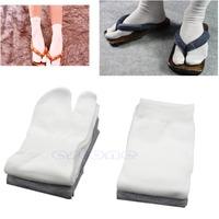 D19   5 Pairs Unisex Split Toe Japanese Kimono Geta Socks Clog Flip Flop Cotton Tabi