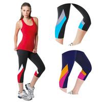 New Sports WomensCapri Pants Patchwork Gym Fitness Leggings Yoga Pants Running Workout Active Wear High Waist Leg 4 colors