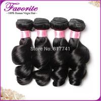 Unprocessed Indian Human Hair 4pcs Lot Indian Loose Wave Hair Extensions, Grade 6A Good Quality Virgin Hair Bundles