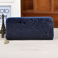 New Zip Around Morning glory pattern Long Wallet Lady Women Purse Solid Pouch best Genuine Cow Leather ZS*B9095E#S3