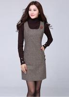 Fall/winter new style dress Suits women's Joker warm sleeveless vest low T winter long coat dress Button Pocket Fashion