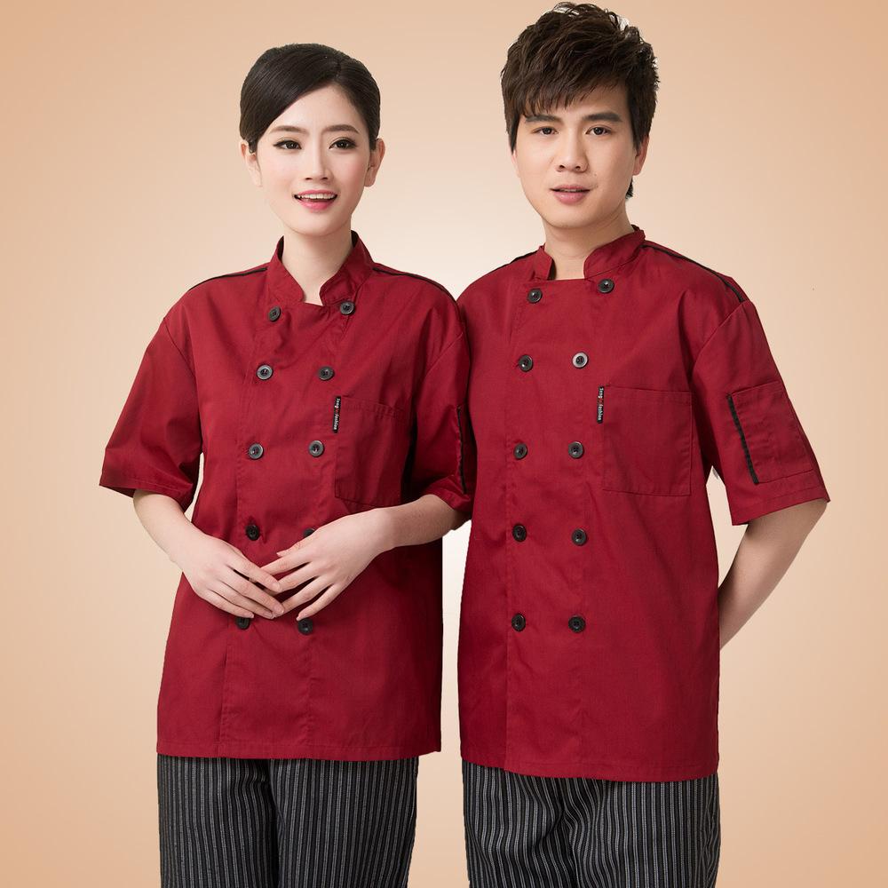 Hotel restaurant chef clothing pastry chef coat white short-sleeve summer uniforms restaurant patisserie red &black(China (Mainland))