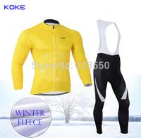 Yellow New full zipper men Fleece thermal Winter cycling jersey/ Long Sleeve+Bib Pants cycling clothing  -BT2031